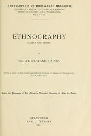 Cover of: Ethnography (castes and tribes) by Sir Athelstane Baines