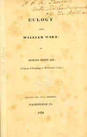 Cover of: Eulogy upon William Wirt