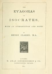 Cover of: The Evagoras of Isocrates | Isocrates