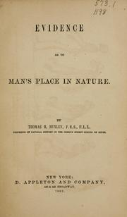 Cover of: Evidence as to man