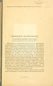 Cover of: Experimental psychopathology
