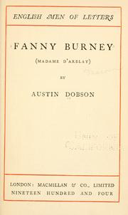 Cover of: Fanny Burney (Madame dArblay) | Austin Dobson