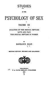 Cover of: Studies in the Psychology of Sex ..