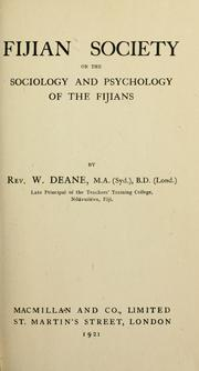 Cover of: Fijian society | Wallace Deane