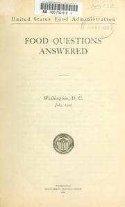 Cover of: Food questions answered. | United States. Food administration