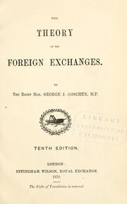 Cover of: The theory of the foreign exchanges
