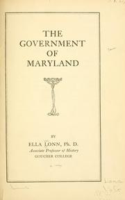 Cover of: The government of Maryland. | Ella Lonn