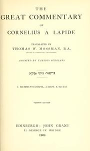 Cover of: The great commentary of Cornelius à Lapide