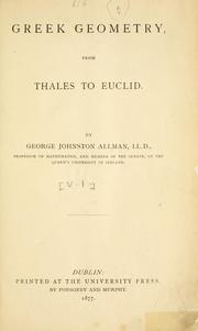 Cover of: Greek geometry from Thales to Euclid. | George Johnston Allman