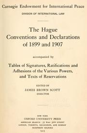 Cover of: The Hague conventions and declarations of 1899 and 1907 |