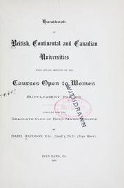 Cover of: Handbook of British, continental and Canadian universities, with special mention of the courses open to women | Isabel Maddison