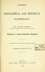 Cover of: Handbook of geographical and historical pathology