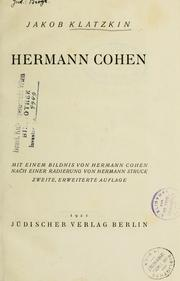 Cover of: Hermann Cohen | Jakob Klatzkin