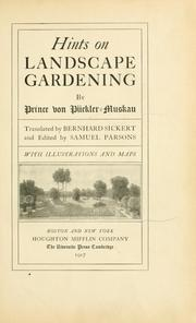 Cover of: Hints on landscape gardening | Hermann Ludwig Heinrich von Pückler-Muskau