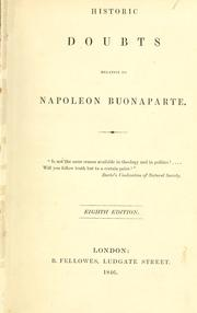 Historic doubts relative to Napoleon Buonaparte by Richard Whately