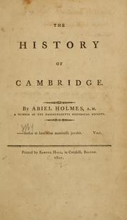Cover of: The history of Cambridge