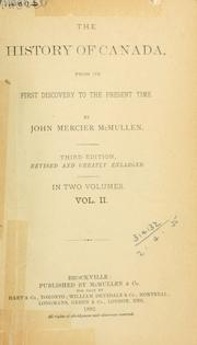 Cover of: history of Canada | John Mercier McMullen