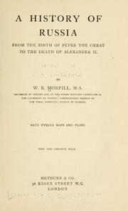 Cover of: A history of Russia from the birth of Peter the Great to the death of Alexander II