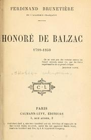 Cover of: Honoré de Balzac, 1799-1850