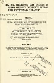 Cover of: H.R. 1873, reparations