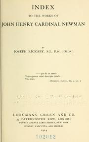 Cover of: An index to the works of John Henry cardinal Newman