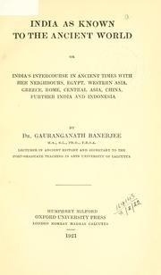 Cover of: India as known to the ancient world