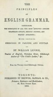 The principles of English grammar by William Lennie