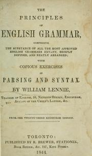 Cover of: principles of English grammar | William Lennie