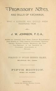 Cover of: Promissory notes and bills of exchange | J. W. Johnson