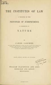 Cover of: Institutes of law | Lorimer, James