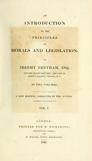 Cover of: An introduction to the principles of morals and legislation