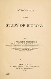 Cover of: Introduction to the study of biology