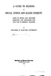 Cover of: A Guide to Reading in Social Ethics and Allied Subjects: Lists of Books and ..