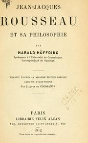 Cover of: Jean-Jacques Rousseau et sa philosophie