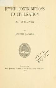 Cover of: Jewish contributions to civilization: an estimate