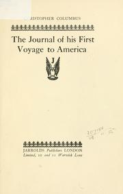Cover of: The journal of his first voyage to America