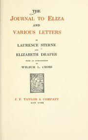 Cover of: The journal to Eliza and various letters