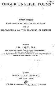 Cover of: Longer English Poems: With Notes Philological and Explanatory and an Introduction on the ..