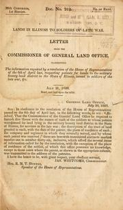 Cover of: Lands in Illinois to soldiers of late war. | United States. General Land Office.