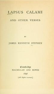 Lapsus calami, and other verses by James Kenneth Stephen