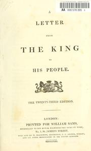 A letter from the king to his people by John Wilson Croker