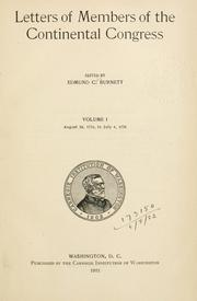 Letters of members of the Continental Congress by Edmund Cody Burnett