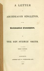 Cover of: A letter to Archdeacon Singleton, on the Ecclesiastical Commission