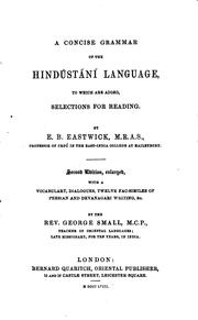 Cover of: A Concise Grammar of the Hindústání Language: To which are Added, Selections for Reading