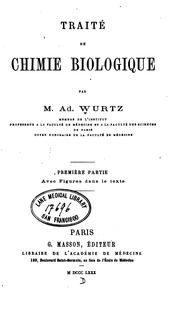 Cover of: Traité de chimie biologique v. 1