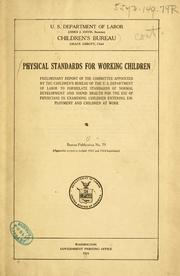 Cover of: Physical standards for working children |