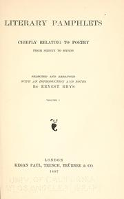 Cover of: Literary pamphlets chiefly relating to poetry from Sidney to Byron