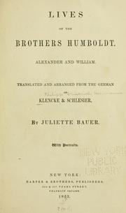 Cover of: Lives of the brothers Humboldt, Alexander and William | Hermann Klencke