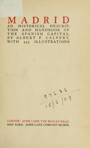 Cover of: Madrid: an historical description and handbook of the Spanish capital
