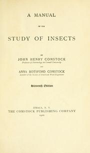 Cover of: manual for the study of insects | John Henry Comstock